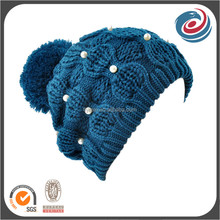 wholesale blue pompom winter beanie hats with olivent