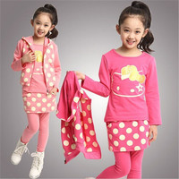 newest Girl's winter clothing sets baby Girl's suit sets HELLO KITTY Girl Clothing sets t-shirts+pants+vest 3pieces/set