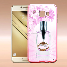 Hot Selling Wholesale Fashion Prefume Transparent TPU+PC Phone Case With Stretch Ring Stand Bracket For Samsung C5