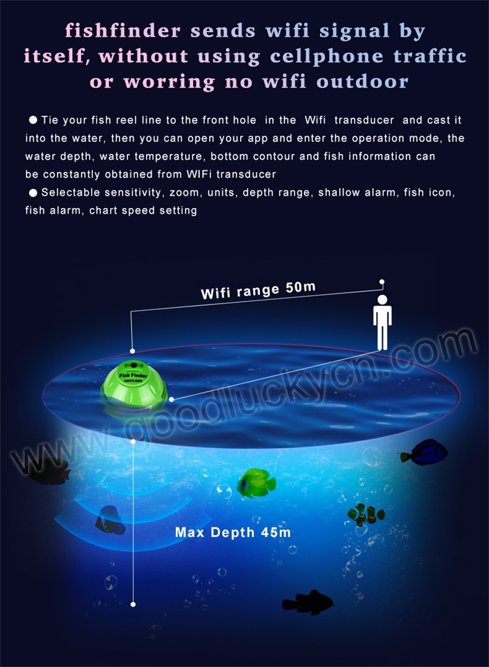 Wireless WIFI Fish Finder For Phone sales@ goodluckycn.com