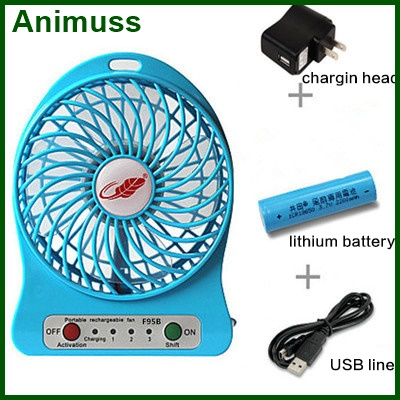 4 inch kids powerful wind rechargeable lithium battery led handheld mini usb fan with power bank