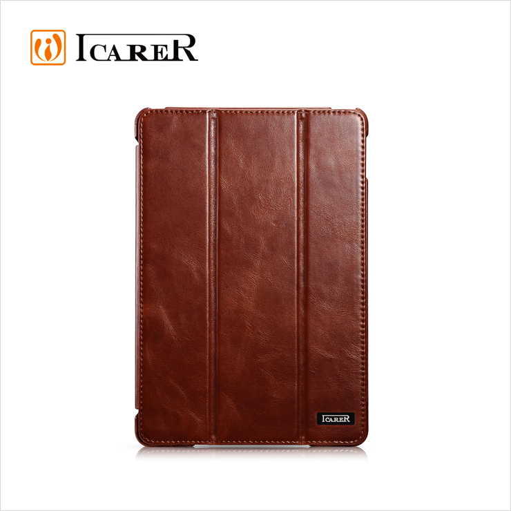 ICARER Hot Selling Vintage Real Leather Folio Case for iPad Mini 4,Flip case for iPad Mini 4