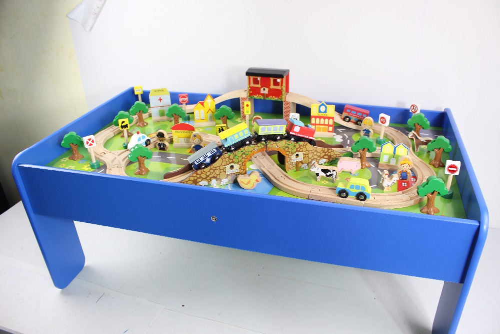 100pcs wooden kids train toy with table