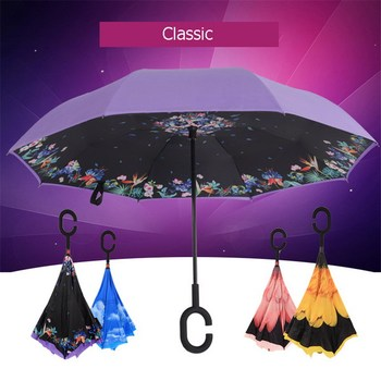 Creative revolutionary innovation inverted windproof promotion reverse umbrella with C handle