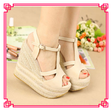 cheap lady platforms sandal fashionable women wedge shoes high heel shoes