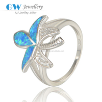 New Design Maple Leaf Opal Silver Ring With CZ Stones 925 Italian Silver Ring
