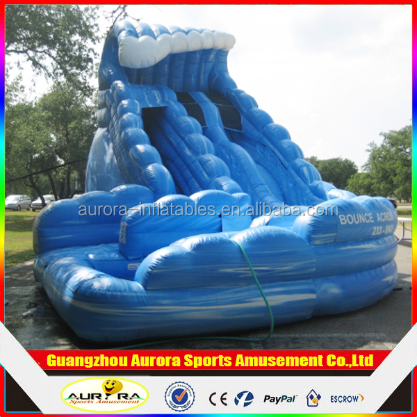 Best popular Monster Wave Dual Lane Inflatable Curve Water Slide With Pool