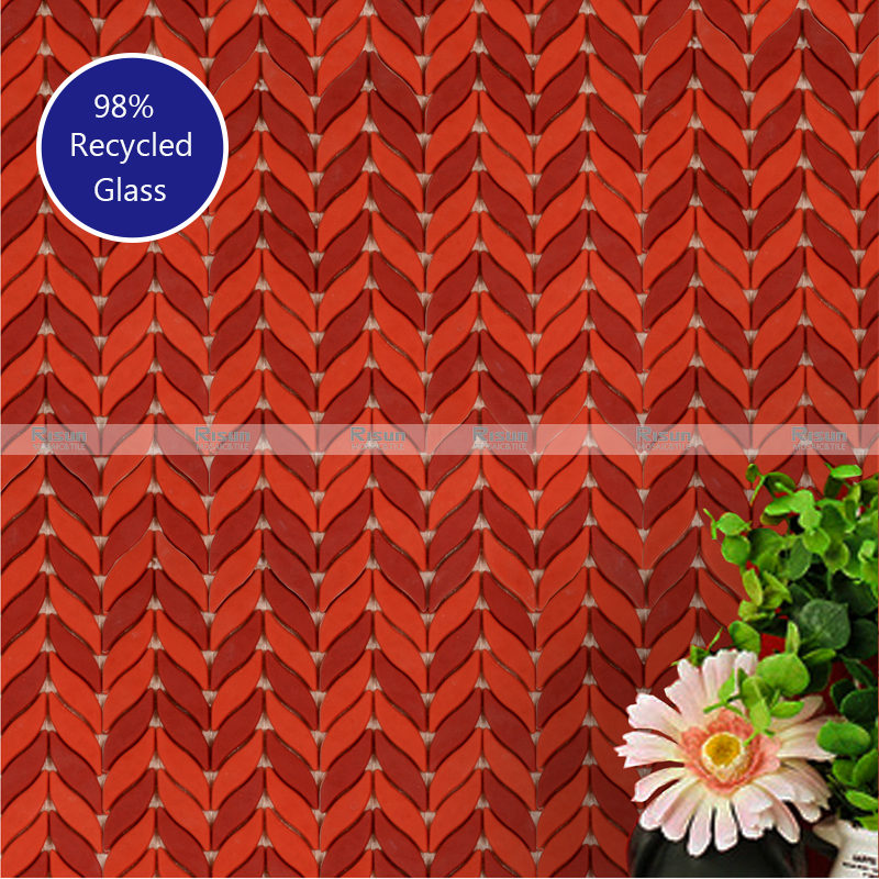 WAVE MATTE SURFACE LEAF SHAPE RECYCLE GLASS MOSAIC MULTI SPACE FIT WALL TILE