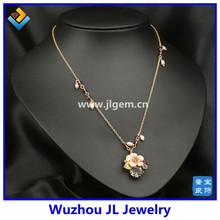 2015 spring summer flower glass resin flower fashion flower statement necklace