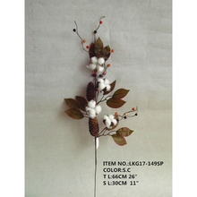 "26"" Artificial Cotton Flower with Berries and Leaves Decoration Spray"