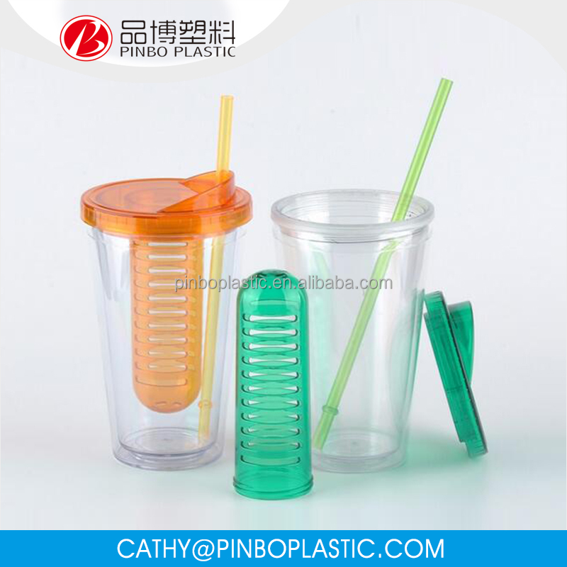 Professional Eco-Friendly Clear Acrylic Tumbler with Removable Insert and Straw