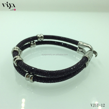 steel beads clasps easy hook stingray bracelet for positive energy friendship items genuine stingray leather cord