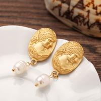 Shihan SE1339 Luxury 925 Silver Real Gold Plated Freshwater Pearl Earring Geometric Gold Tone Big Hook Stud Earring
