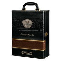 Classical Leather Wine Gift Boxes Bottle Carrying Case With Handle Packing Box