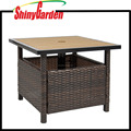 Cheap Outdoor PE Small Wicker Square Bistro Leisure Coffee Table with Umbrella Hole
