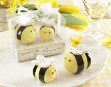 """Mommy and Me Bee Ceramic Honeybee Salt and Pepper Shakers set Baby Shower decoration gifts favors"