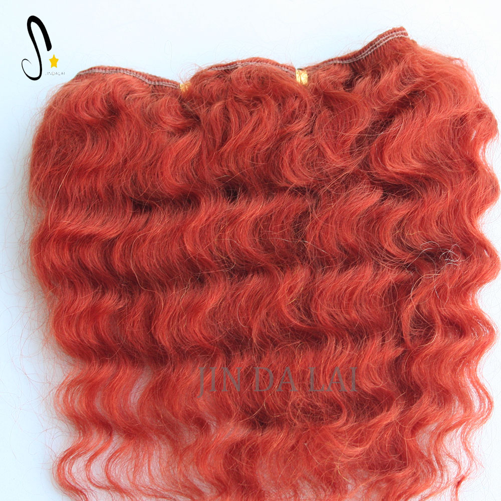 Red color horse hair weft no chemical processed Mohair extension for cute doll