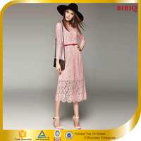 Long Sleeve High End Women Dresses Hot Pink Lace Dress Wholesale
