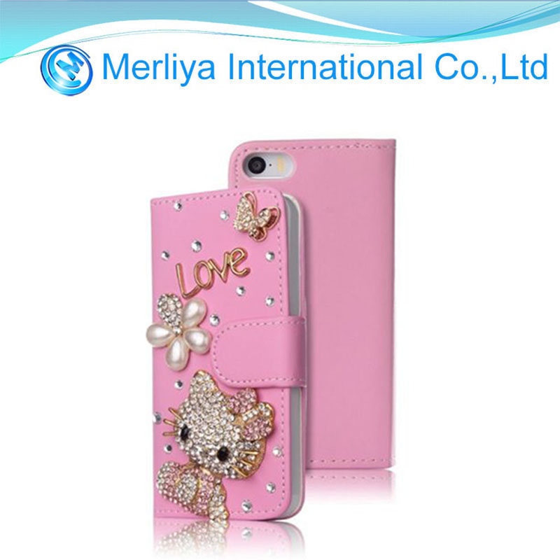 Luxury Bling Diamond Cute Hello Kitty Card Leather Phone Case for Iphone 7/7plus/8/8plus