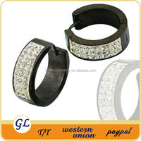 ER05190 CZ crystal medical steel earring mens black hoop earring