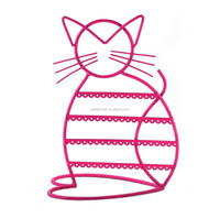 Cat Shape Metal Wire Earring Holder by ARADTM (PINK)