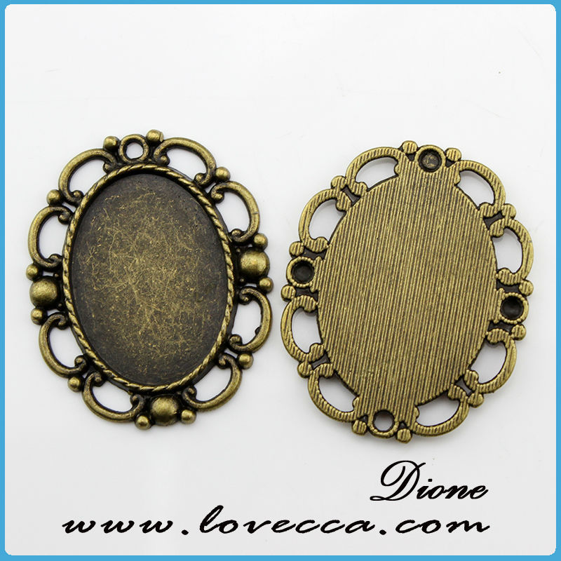 alloy round pendant trays	,Antique style metal setting,Cameo Setting Charm Pendant
