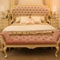 Exquisite Fantastic Solid Wood Hand Carved Floral Antique Tufted Princess Pink Bed For Bedroom Furniture BF08-J0006