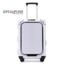 White clean color ABS+PC telescopic aluminium trolley luggage, TSA Combination Lock carry-on
