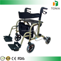 aluminum rollator walker transport Chair Combo with wheels for adults