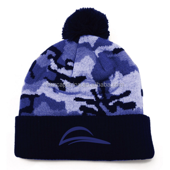2015 CUSTOM CAMOUFLAGE 3D EMBROIDERY LOGO KNIT BEANIE HAT WITH A TOP BALL