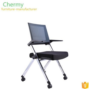Wholesale aluminum folding chair office mesh back training/student chair with wheels
