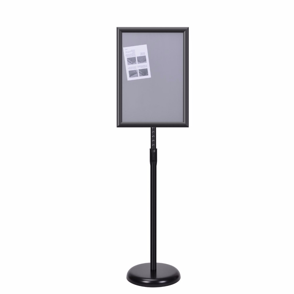 Adjustable Pedestal Sign Holder Floor Stand with Telescoping Post, A3 Graphics, Top-loading Vertical, Black