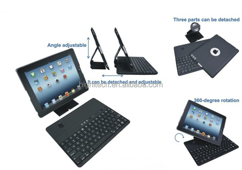 3 in 1 Detachable Bluetooth Keyboard 360 Rotating Leather Case Cover for iPad 2 3 4