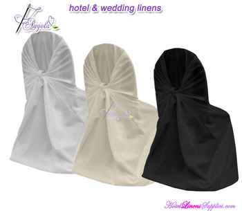 white polyester self-tie chair covers for banquet chairs in wedding decorations