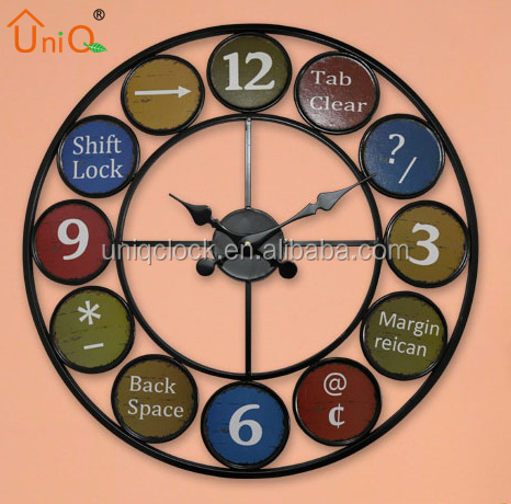 European and American country retro creative old metal simple big wall clock