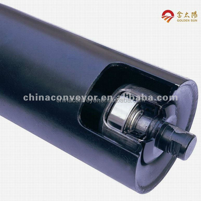 Conveyor carrying rubber roller zero resistance use top quality SKF bearing