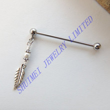 Silver Dangle Leaf Pearl Ear Tragus Cartilage Industrial Barbell Earring 14Gauge Piercing Body Jewelry New