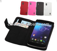 Genuine Real Leather Case Flip Cover Card Slot Wallet for LG Google Nexus 4 E960