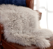 CX-D-60 Natural Colour Real Mongolian Lamb Fur Blanket & Throw