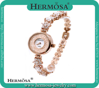 Unique Design 18K Gold Flower White Topaz Bracelet Style Girls Fashion Wrist Watch