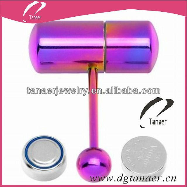 New Design Body Piercing Pink Vibrating Tongue Bar