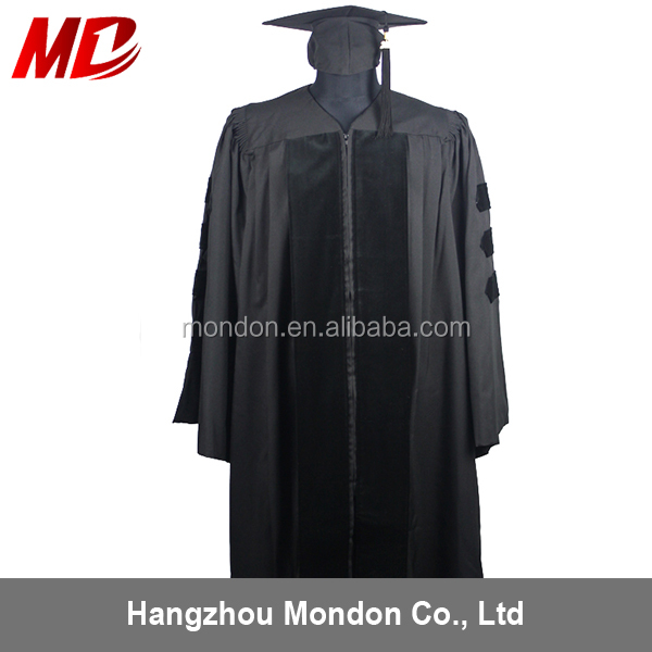 Matt Polyester Classic Black Academic Doctoral Cap Gowns for Graduation