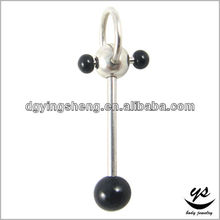 Black acrylic ball vibrating crazy tongue rings free sample