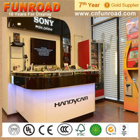 2015 popular MDF glass phone shop display counter