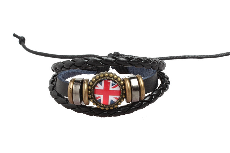 Wholesale cheap London United Kingdom braided leather bracelet