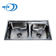 Freestanding double drainer stainless steel kitchen sink