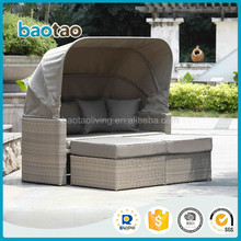 plastic wicker outdoor round daybed with ottoman leisure daybed with canopy