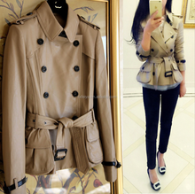 Classical Windbreaker Real Leather Duster Coats Jacket Ladies Fashion Outwear