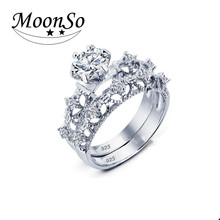 Top quality 925 sterling silver engagement wedding band ring set metal masters co rings finger ring KR1942S
