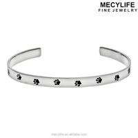 MECYLIFE Stainless Steel Opened Bangle Animal Rescue Jewelry Cat's Dog's Paw Print Charms Bracelet